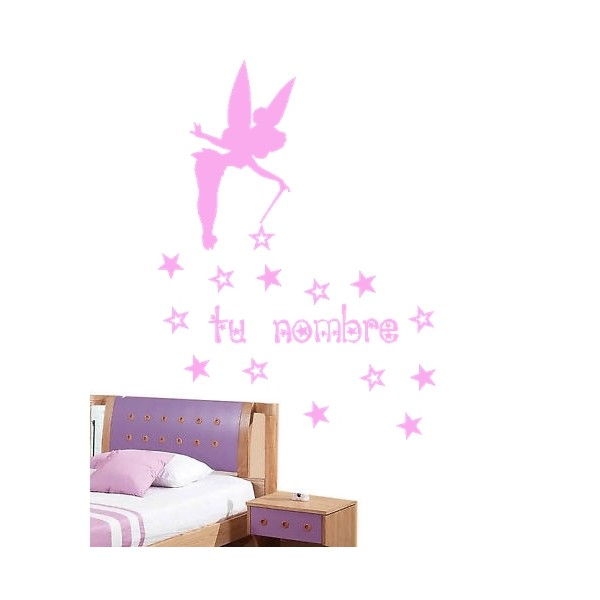Vinilo pared campanilla estrellas hada personalizado - Vinilos personalizados pared ...