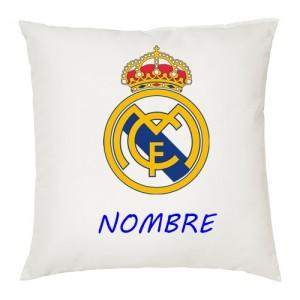 Real Madrid cojin personalizado con texto y escudo