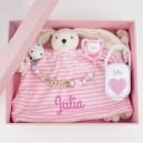 Pack Rosa Cadenita + Chupete + Dou-dou + cajita regalo bebe recien nacido