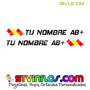 Pegatina Nombre y Grupo Sanguineo con Bandera España