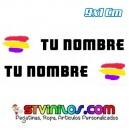 Pegatina Nombre con Bandera España Republicana Trazo Pincelada 9 CM