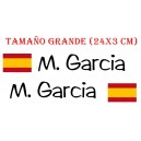 Pegatina Nombre + Bandera España Trazo 9 CM
