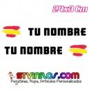 Pegatina nombre con bandera España Trazos Pincelada tipo Rally Rallye