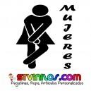 Pegatina Señal Puerta Mujeres WC Cartel Vinilo